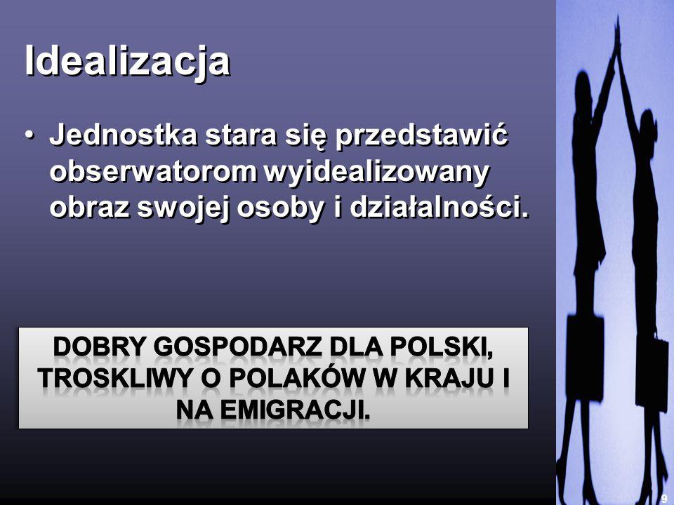 IdealizacjaJednostka stara się przedstawić obserwatorom wyidealizowany obraz swojej osoby i działalności.