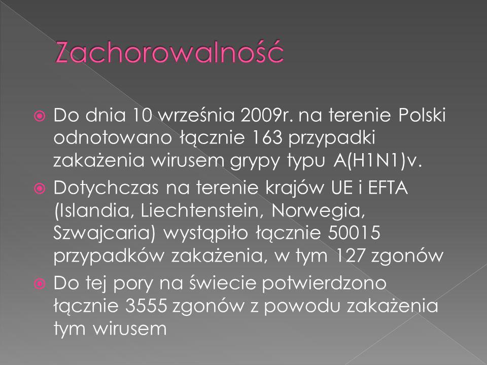 Zachorowalność Do dnia 10 września 2009r. na terenie Polski odnotowano łącznie 163 przypadki zakażenia wirusem grypy typu A(H1N1)v.