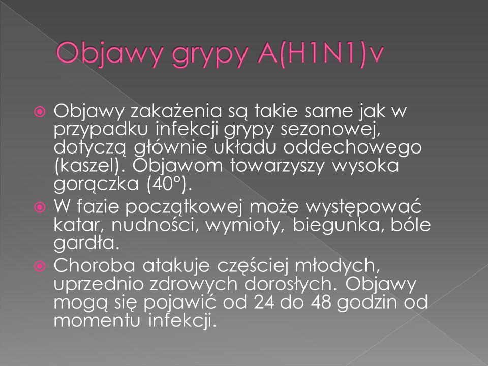 Objawy grypy A(H1N1)v