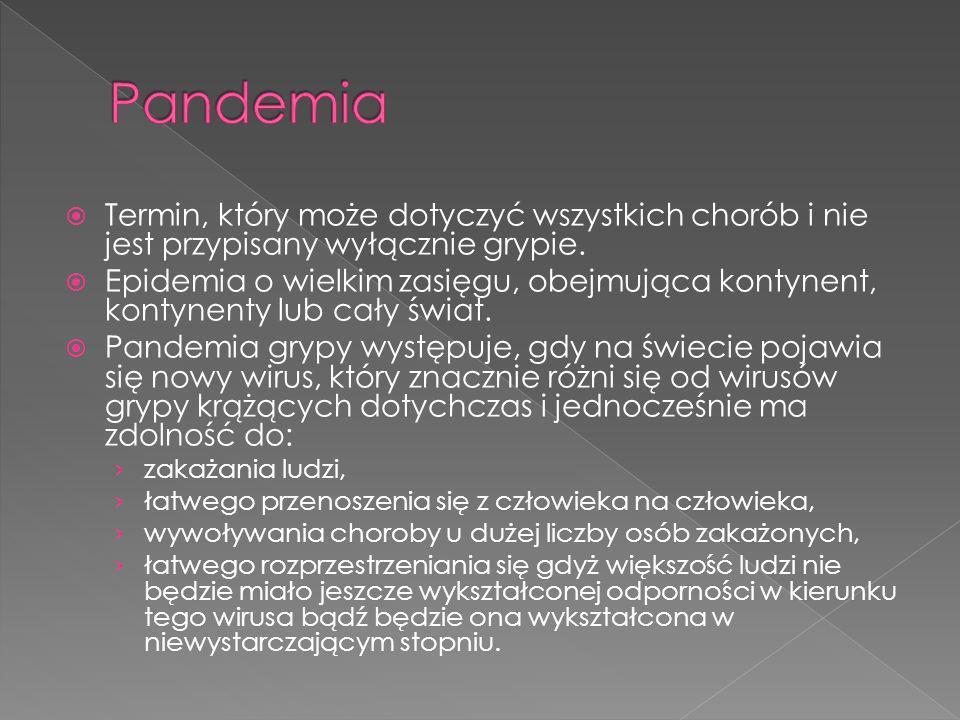 Pandemia Termin, który może dotyczyć wszystkich chorób i nie jest przypisany wyłącznie grypie.