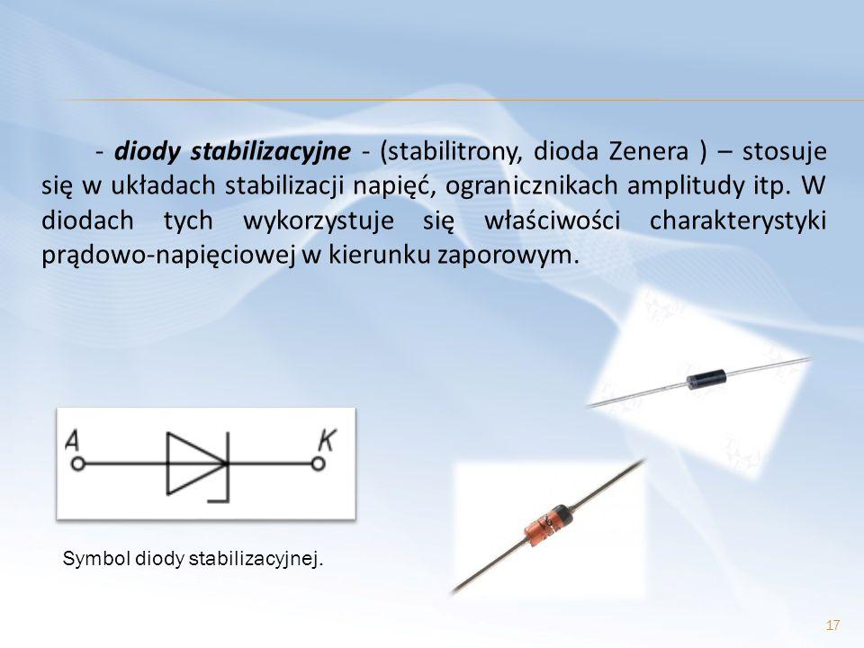 - diody stabilizacyjne - (stabilitrony, dioda Zenera ) – stosuje się w układach stabilizacji napięć, ogranicznikach amplitudy itp. W diodach tych wykorzystuje się właściwości charakterystyki prądowo-napięciowej w kierunku zaporowym.