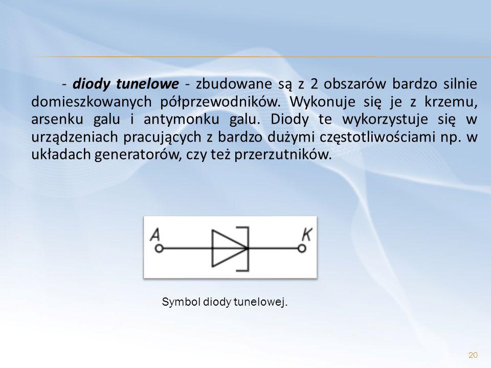 - diody tunelowe - zbudowane są z 2 obszarów bardzo silnie domieszkowanych półprzewodników. Wykonuje się je z krzemu, arsenku galu i antymonku galu. Diody te wykorzystuje się w urządzeniach pracujących z bardzo dużymi częstotliwościami np. w układach generatorów, czy też przerzutników.