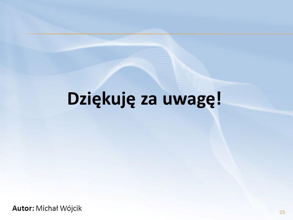 Dziękuję za uwagę! Autor: Michał Wójcik