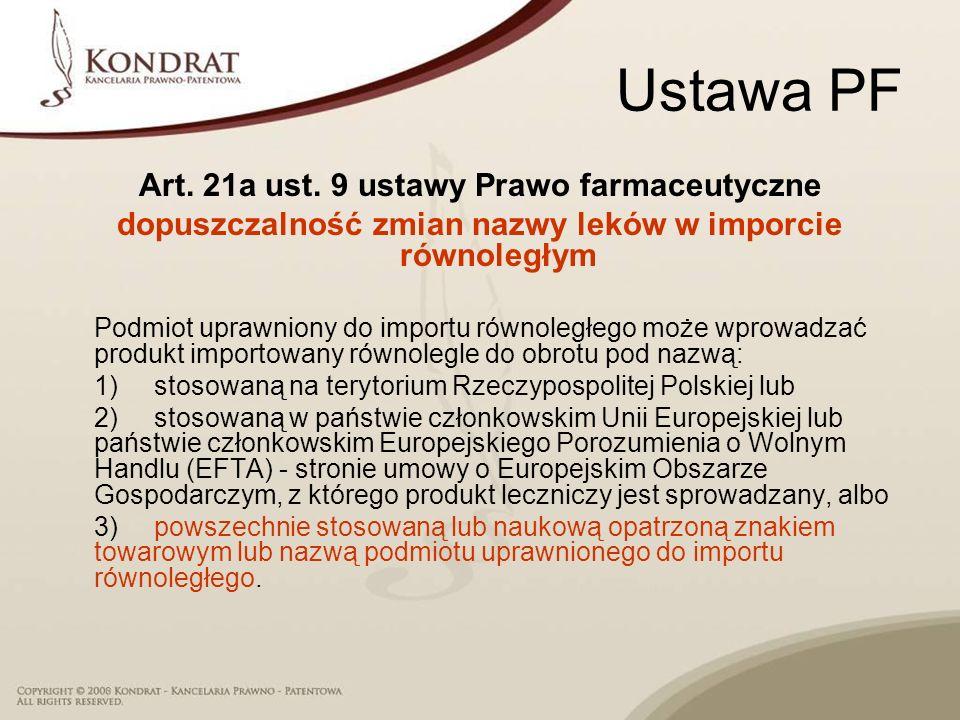 Ustawa PF Art. 21a ust. 9 ustawy Prawo farmaceutyczne