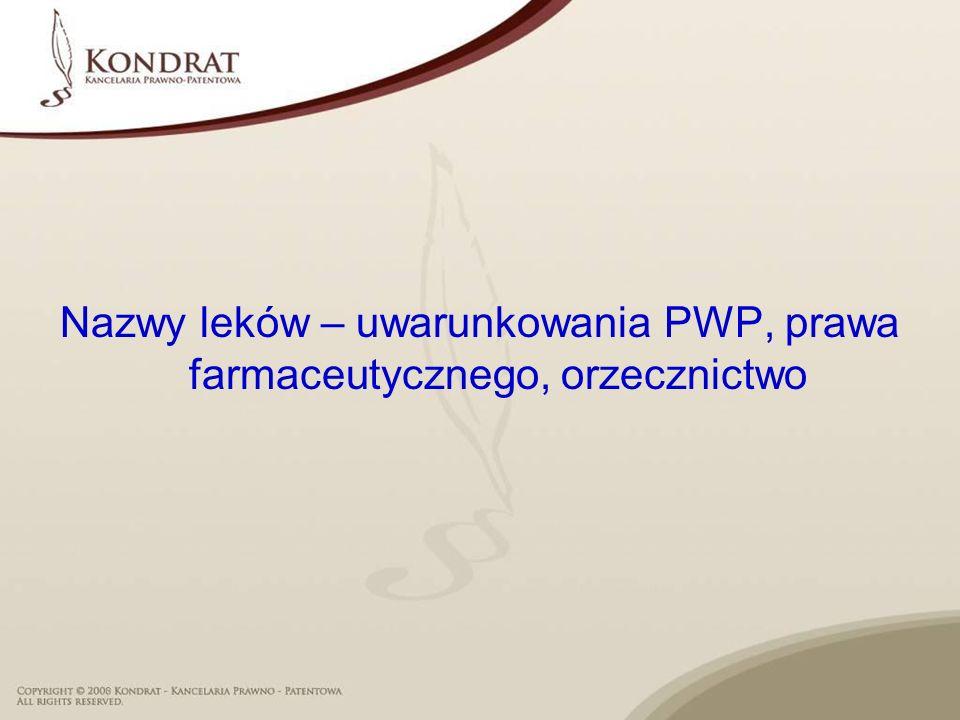 Nazwy leków – uwarunkowania PWP, prawa farmaceutycznego, orzecznictwo