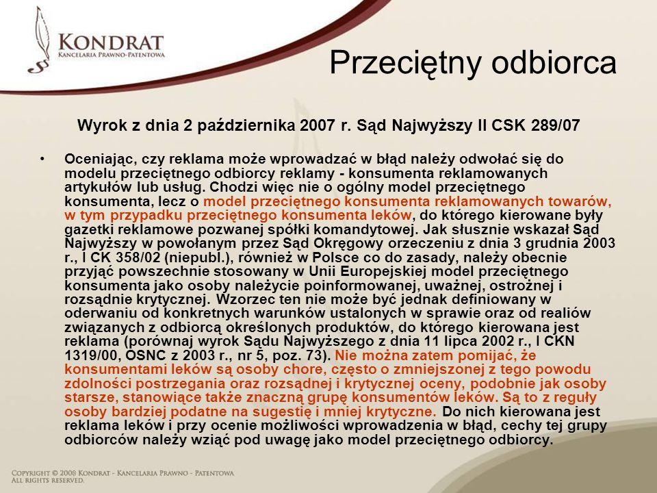 Wyrok z dnia 2 października 2007 r. Sąd Najwyższy II CSK 289/07
