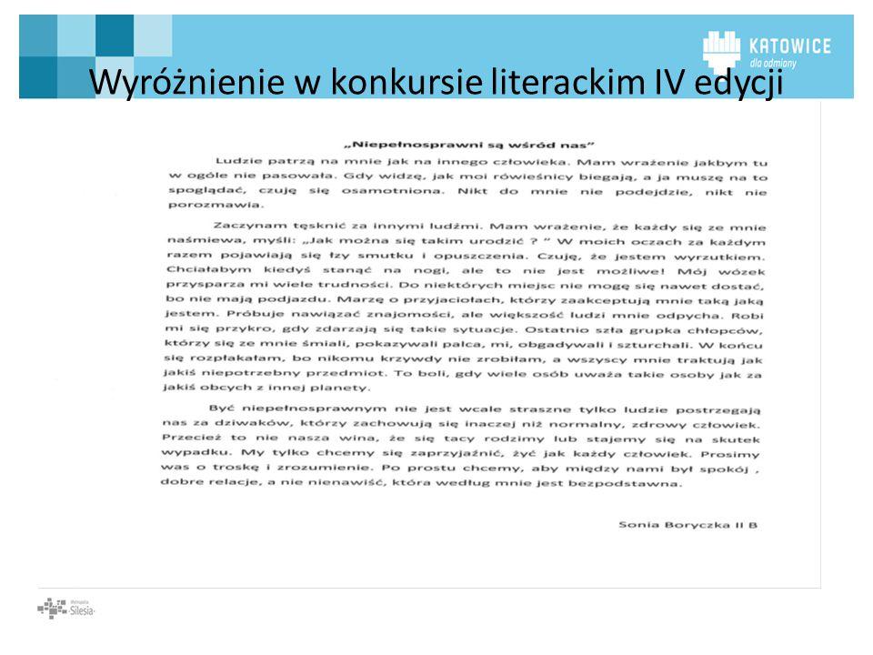 Wyróżnienie w konkursie literackim IV edycji