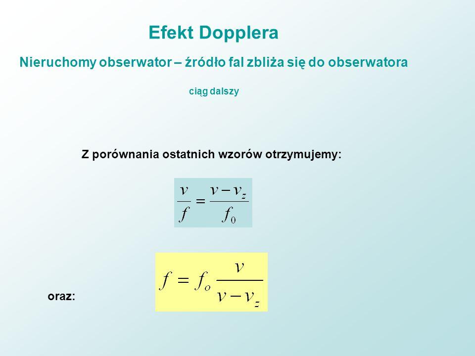 Efekt Dopplera Nieruchomy obserwator – źródło fal zbliża się do obserwatora ciąg dalszy