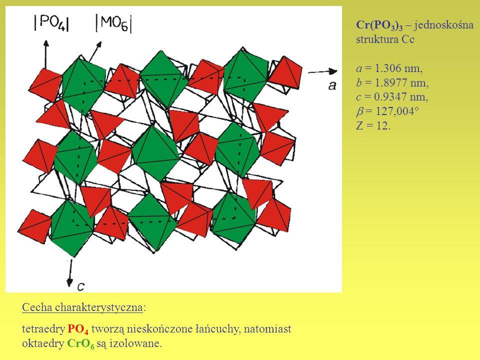 Cr(PO3)3 – jednoskośnastruktura Cc. a = 1.306 nm, b = 1.8977 nm, c = 0.9347 nm,  = 127,004 Z = 12.