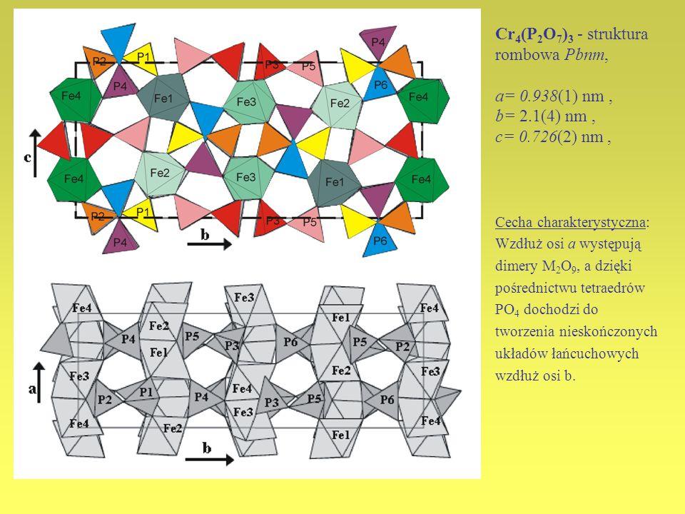 Cr4(P2O7)3 - struktura rombowa Pbnm, a= 0. 938(1) nm , b= 2