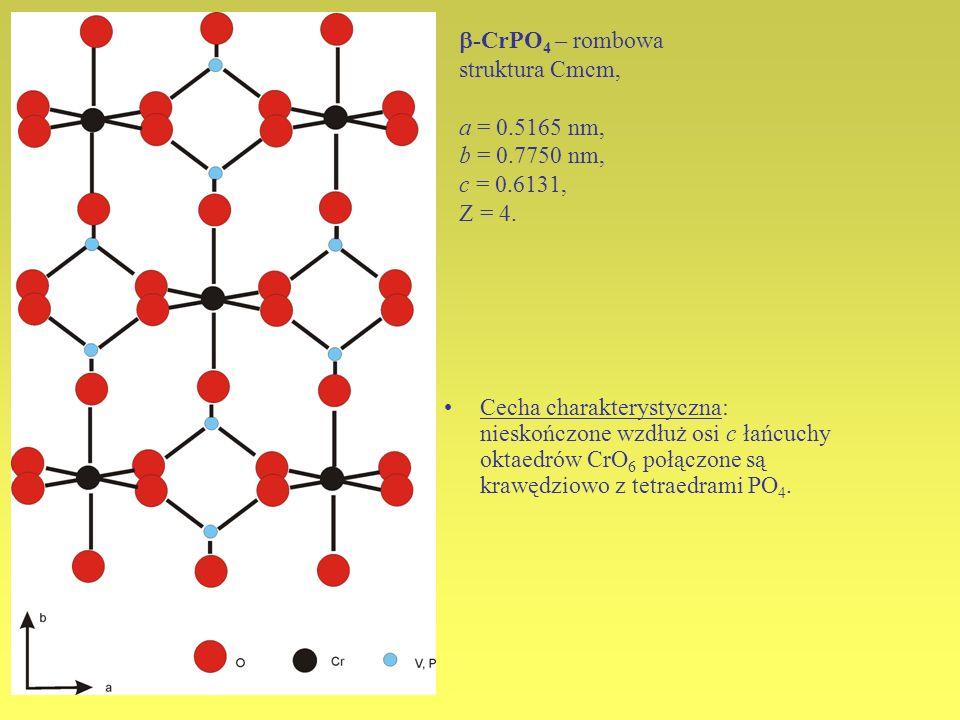 -CrPO4 – rombowa struktura Cmcm, a = 0.5165 nm, b = 0.7750 nm, c = 0.6131, Z = 4.