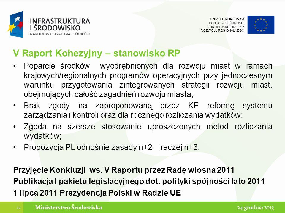 V Raport Kohezyjny – stanowisko RP