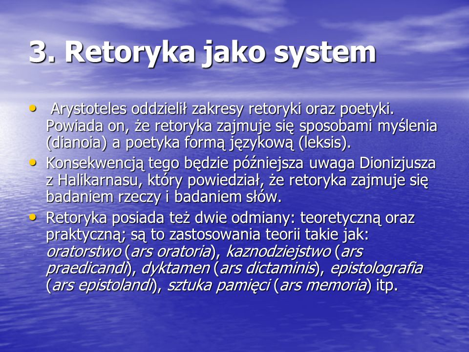 3. Retoryka jako system