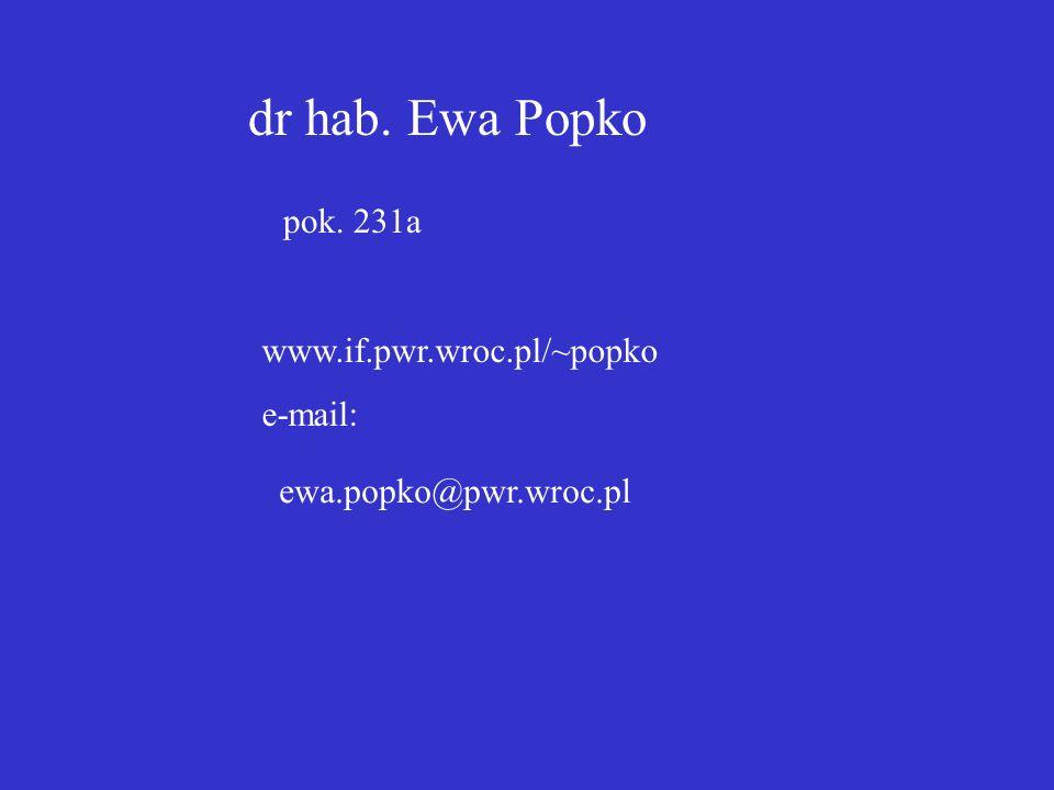 dr hab. Ewa Popko pok. 231a www.if.pwr.wroc.pl/~popko e-mail: