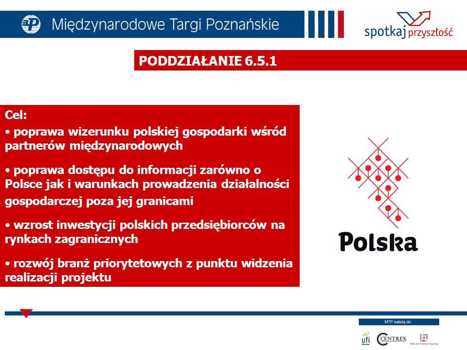 PODDZIAŁANIE 6.5.1 Cel: poprawa wizerunku polskiej gospodarki wśród partnerów międzynarodowych.