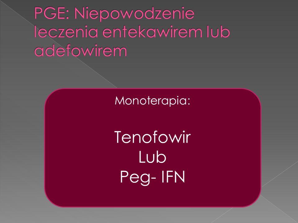 PGE: Niepowodzenie leczenia entekawirem lub adefowirem