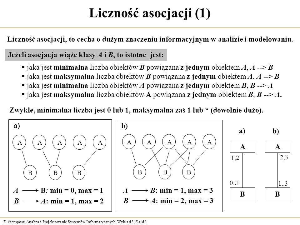 Liczność asocjacji (1) Liczność asocjacji, to cecha o dużym znaczeniu informacyjnym w analizie i modelowaniu.
