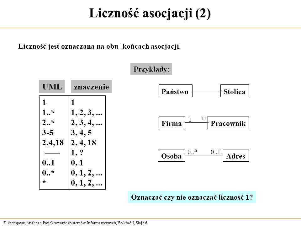Liczność asocjacji (2) UML znaczenie 1 1..* 2..* 3-5 2,4,18 0..1 0..*