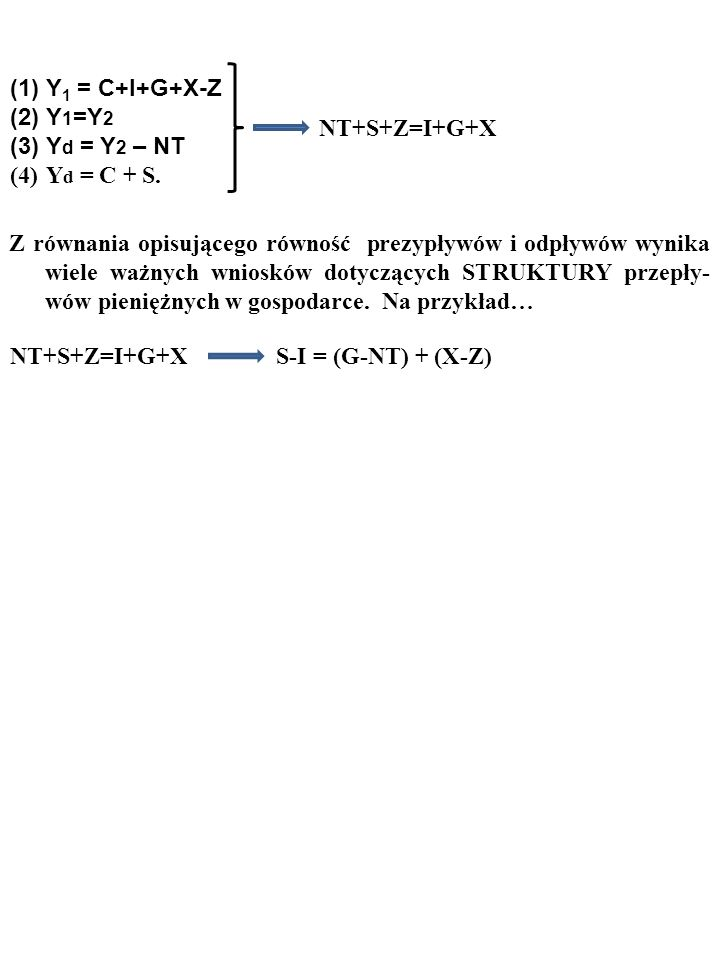 Y1 = C+I+G+X-Z Y1=Y2. Yd = Y2 – NT. Yd = C + S. NT+S+Z=I+G+X.