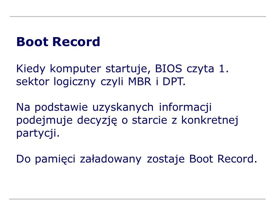 Boot Record Kiedy komputer startuje, BIOS czyta 1. sektor logiczny czyli MBR i DPT.