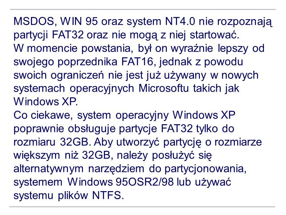 MSDOS, WIN 95 oraz system NT4