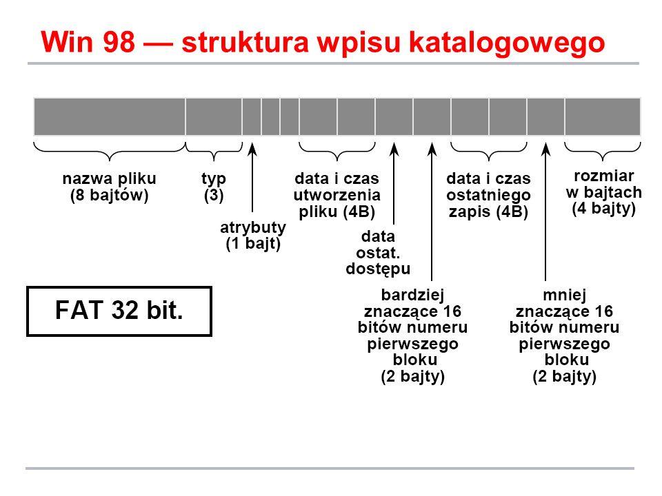 Win 98 — struktura wpisu katalogowego
