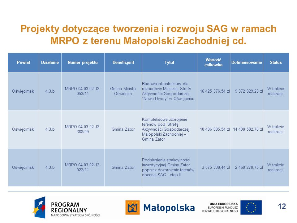 Projekty dotyczące tworzenia i rozwoju SAG w ramach MRPO z terenu Małopolski Zachodniej cd.