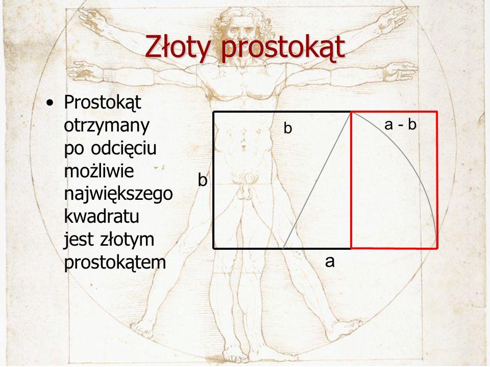 Złoty prostokątProstokąt otrzymany po odcięciu możliwie największego kwadratu jest złotym prostokątem.