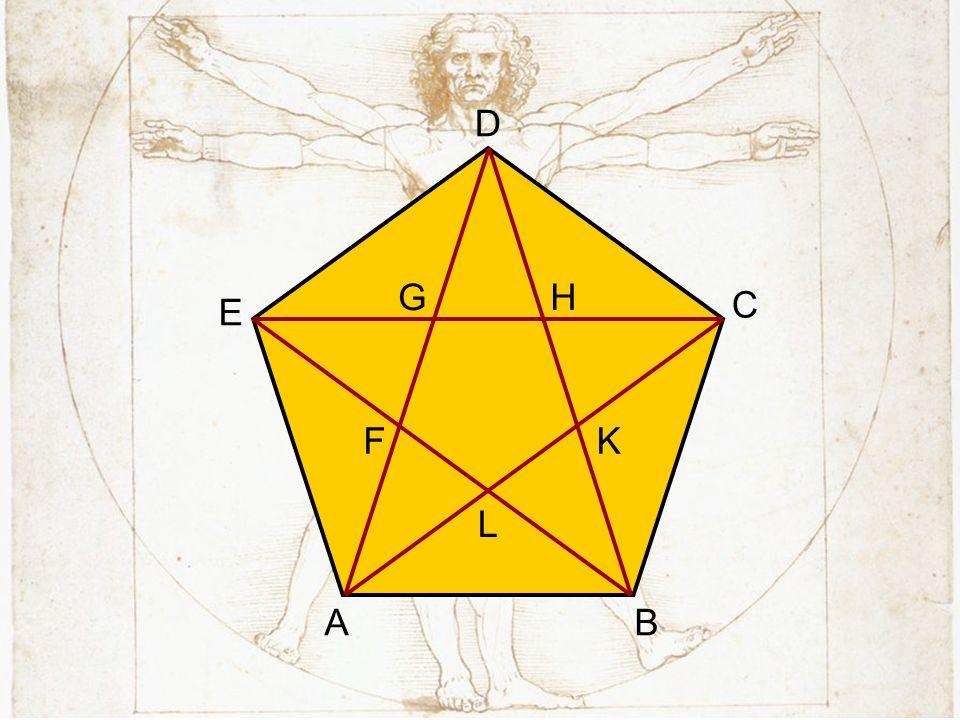 A B. C. D. E. F. G. H. L. K. Które trójkąty są podobne w narysowanym pięciokącie foremnym (przystające)