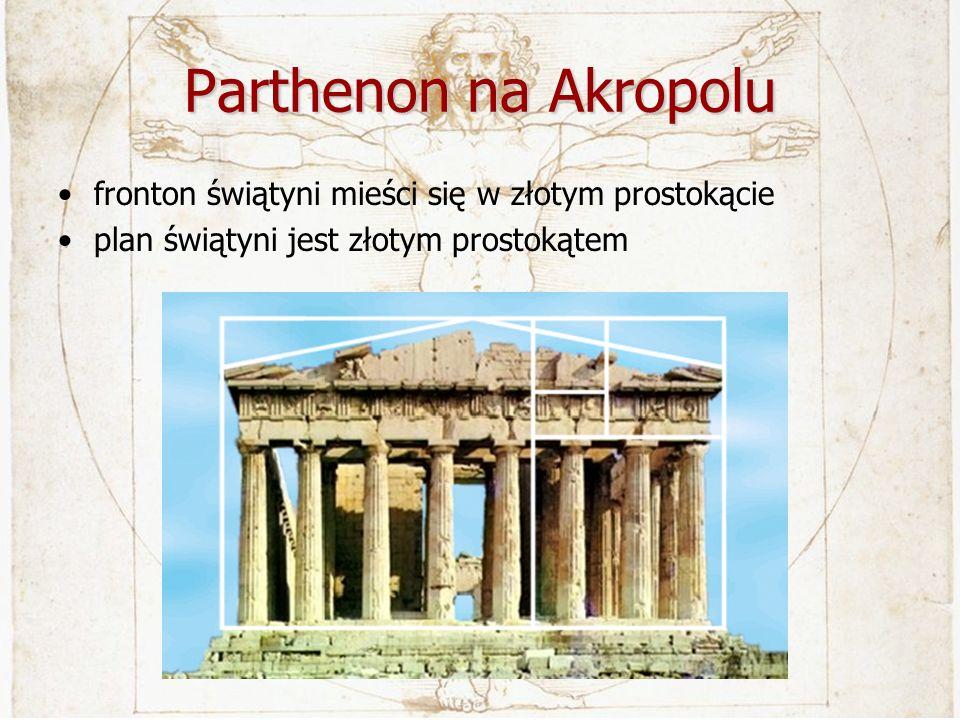 Parthenon na Akropolu fronton świątyni mieści się w złotym prostokącie