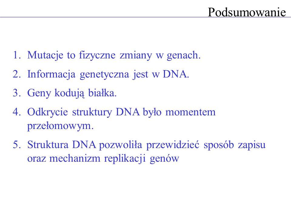 Podsumowanie Mutacje to fizyczne zmiany w genach.