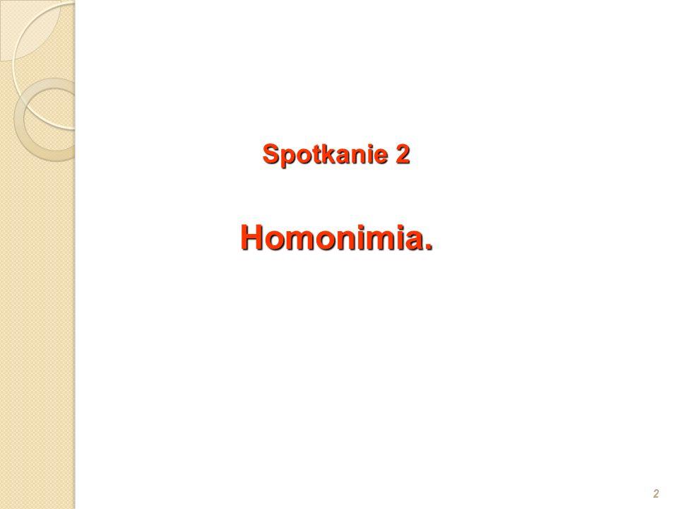 Spotkanie 2 Homonimia.