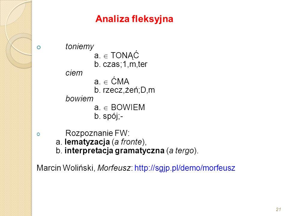 Analiza fleksyjna toniemy a.  TONĄĆ b. czas;1,m,ter ciem a.  ĆMA