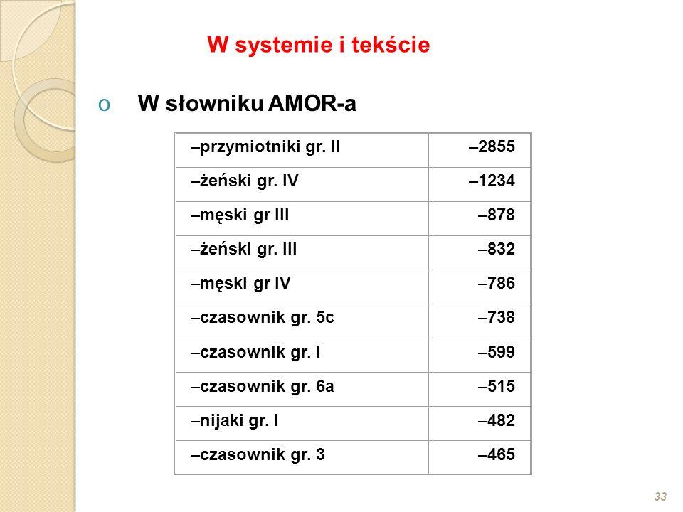 W systemie i tekście W słowniku AMOR-a przymiotniki gr. II 2855