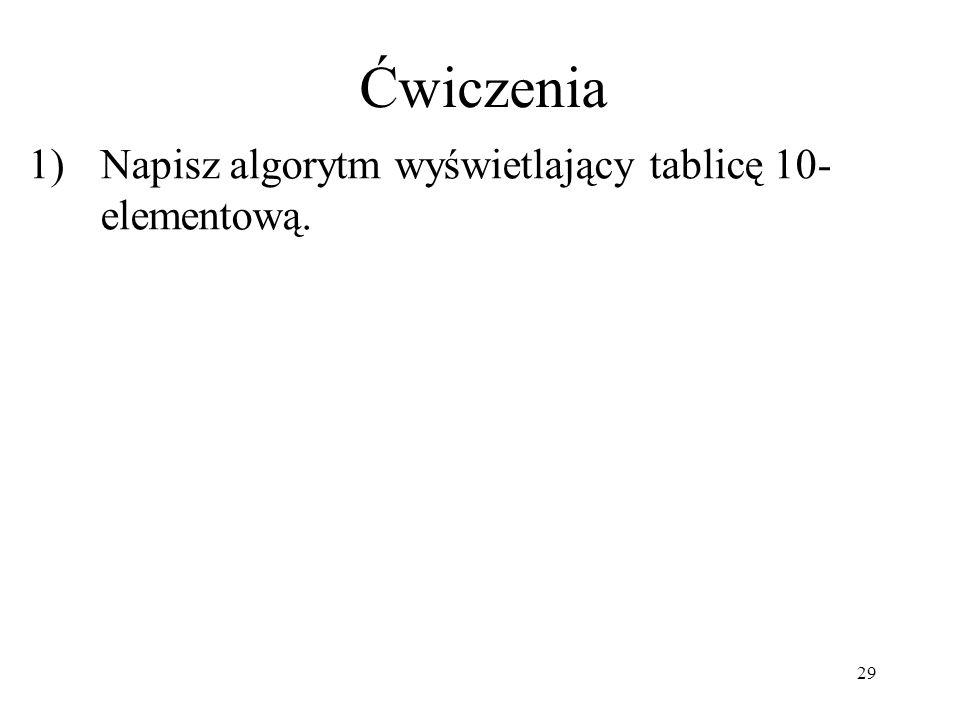 Ćwiczenia Napisz algorytm wyświetlający tablicę 10- elementową.