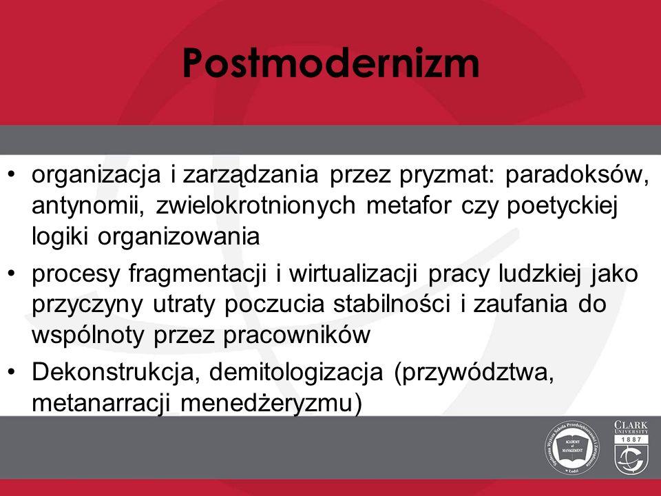 Postmodernizmorganizacja i zarządzania przez pryzmat: paradoksów, antynomii, zwielokrotnionych metafor czy poetyckiej logiki organizowania.