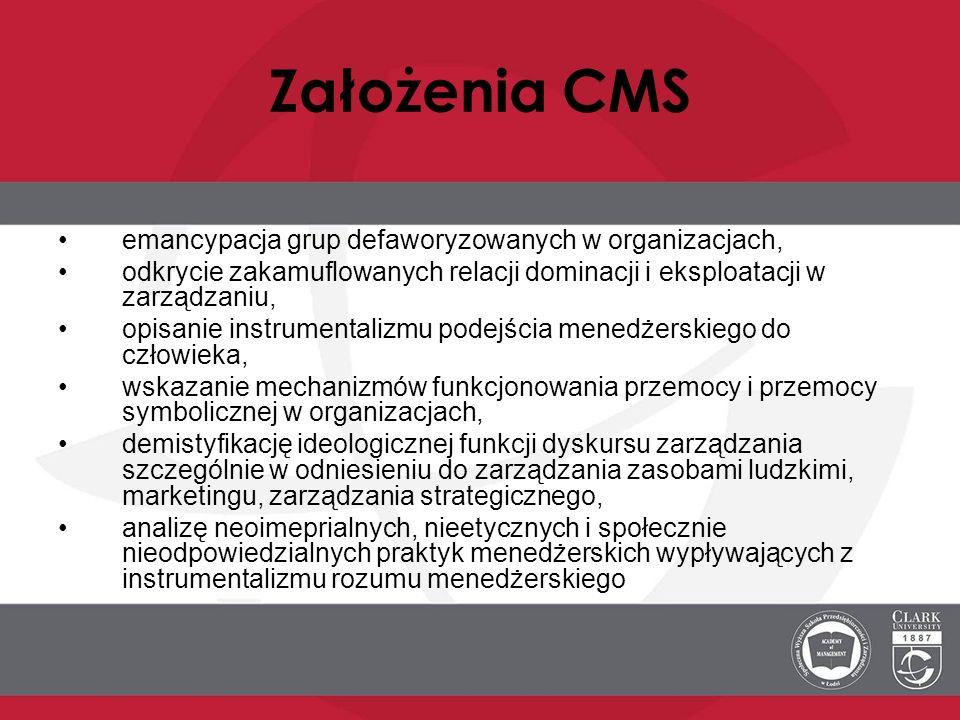 Założenia CMS emancypacja grup defaworyzowanych w organizacjach,