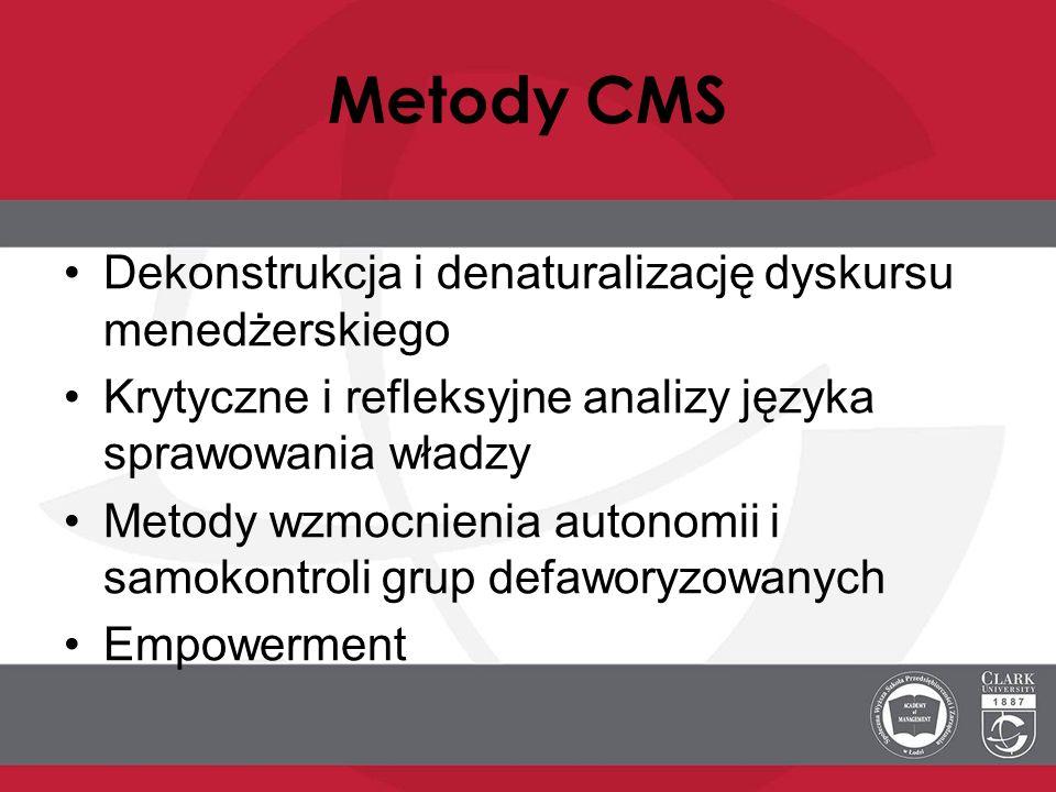 Metody CMS Dekonstrukcja i denaturalizację dyskursu menedżerskiego