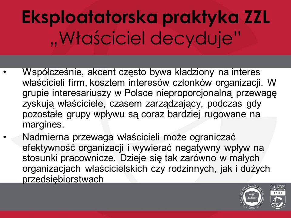 """Eksploatatorska praktyka ZZL """"Właściciel decyduje"""