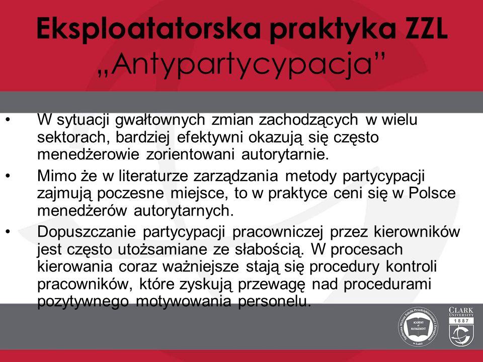 """Eksploatatorska praktyka ZZL """"Antypartycypacja"""