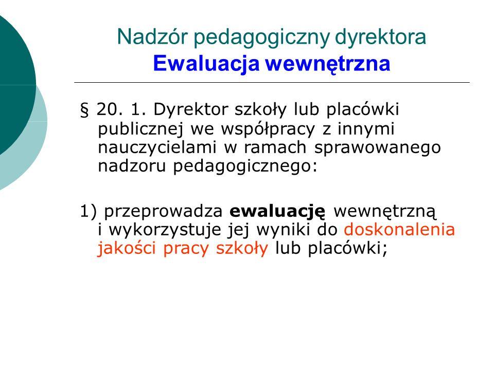 Nadzór pedagogiczny dyrektora Ewaluacja wewnętrzna