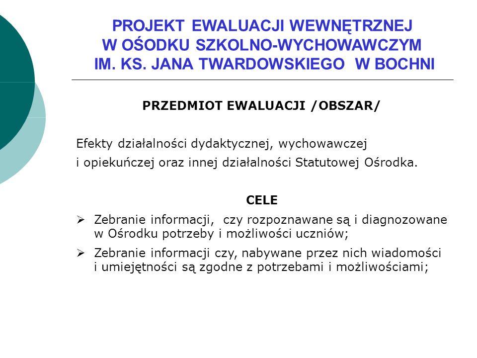 PRZEDMIOT EWALUACJI /OBSZAR/