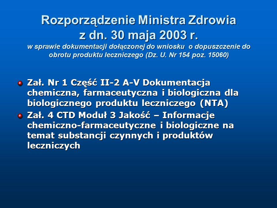 Rozporządzenie Ministra Zdrowia z dn. 30 maja 2003 r