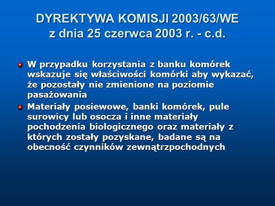 DYREKTYWA KOMISJI 2003/63/WE z dnia 25 czerwca 2003 r. - c.d.