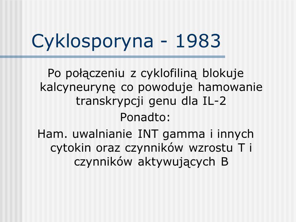 Cyklosporyna - 1983 Po połączeniu z cyklofiliną blokuje kalcyneurynę co powoduje hamowanie transkrypcji genu dla IL-2.
