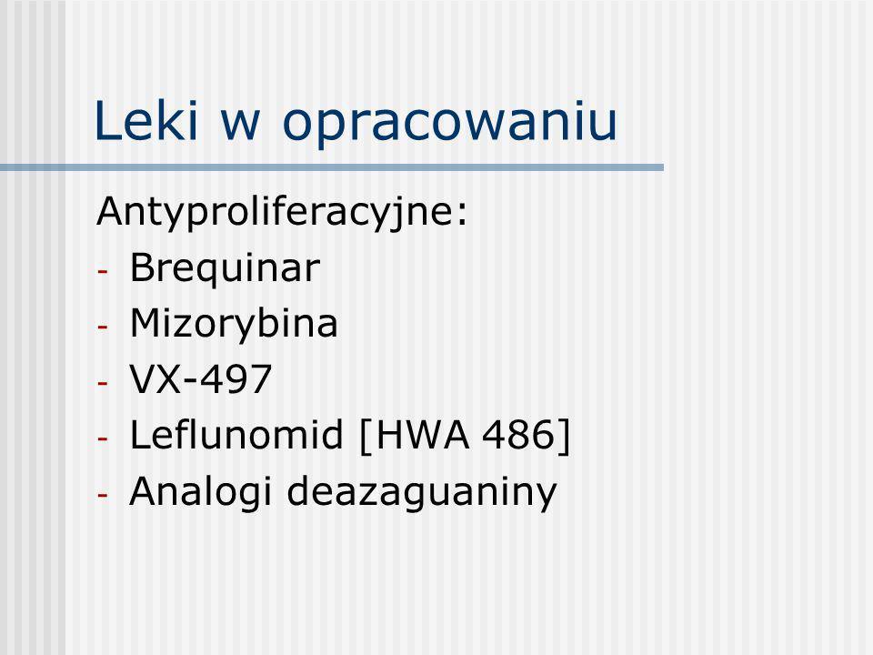 Leki w opracowaniu Antyproliferacyjne: Brequinar Mizorybina VX-497