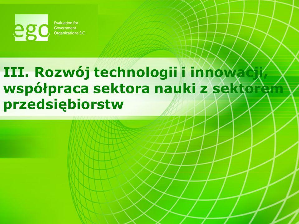 III. Rozwój technologii i innowacji, współpraca sektora nauki z sektorem przedsiębiorstw