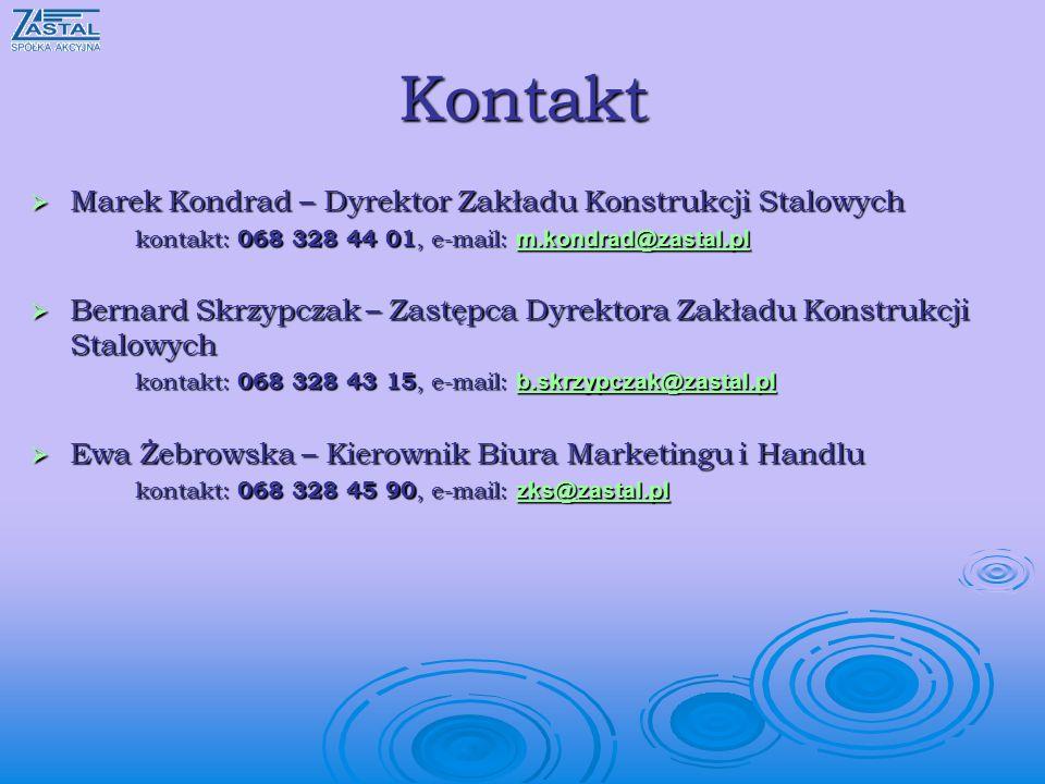 Kontakt Marek Kondrad – Dyrektor Zakładu Konstrukcji Stalowych