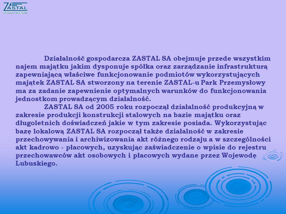 Działalność gospodarcza ZASTAL SA obejmuje przede wszystkim najem majątku jakim dysponuje spółka oraz zarządzanie infrastrukturą zapewniającą właściwe funkcjonowanie podmiotów wykorzystujących majątek ZASTAL SA stworzony na terenie ZASTAL-u Park Przemysłowy ma za zadanie zapewnienie optymalnych warunków do funkcjonowania jednostkom prowadzącym działalność.