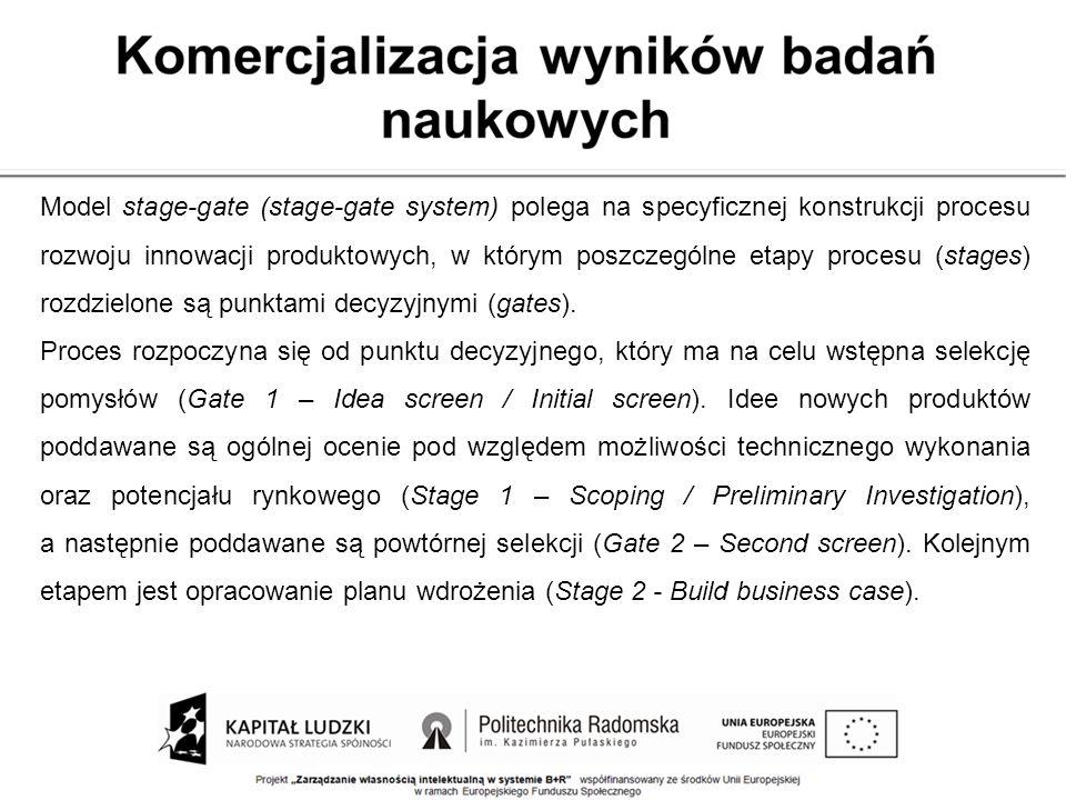 Model stage-gate (stage-gate system) polega na specyficznej konstrukcji procesu rozwoju innowacji produktowych, w którym poszczególne etapy procesu (stages) rozdzielone są punktami decyzyjnymi (gates).